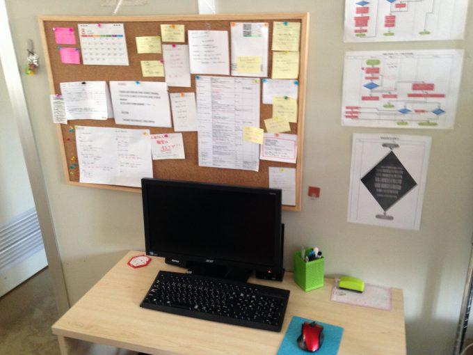 スキームが貼られた作業デスクの写真
